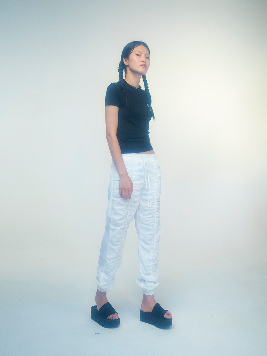 G_CENTER SHIRRING PANTS / WHITE