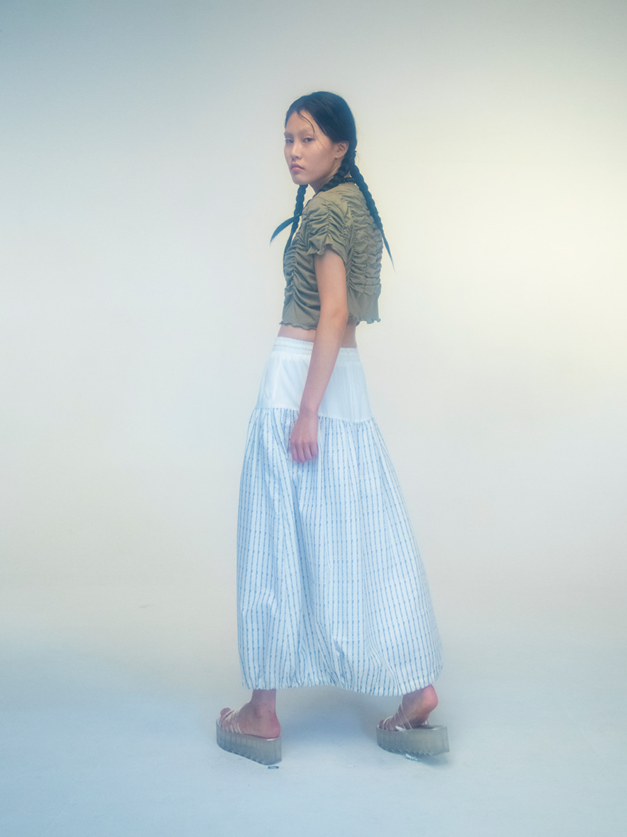 G_LOGO PROJECT STRIPE SKIRT / WHITE
