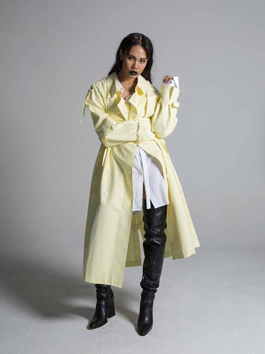 G_SLEEVE DETOUCHABLE TRENCH COAT / YELLOW