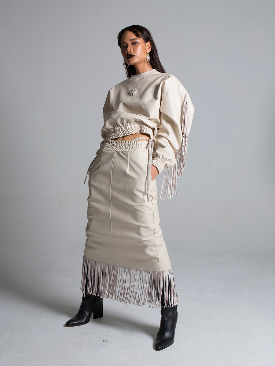 G_TASSEL LEATHER LONG_SKIRT / BEIGE