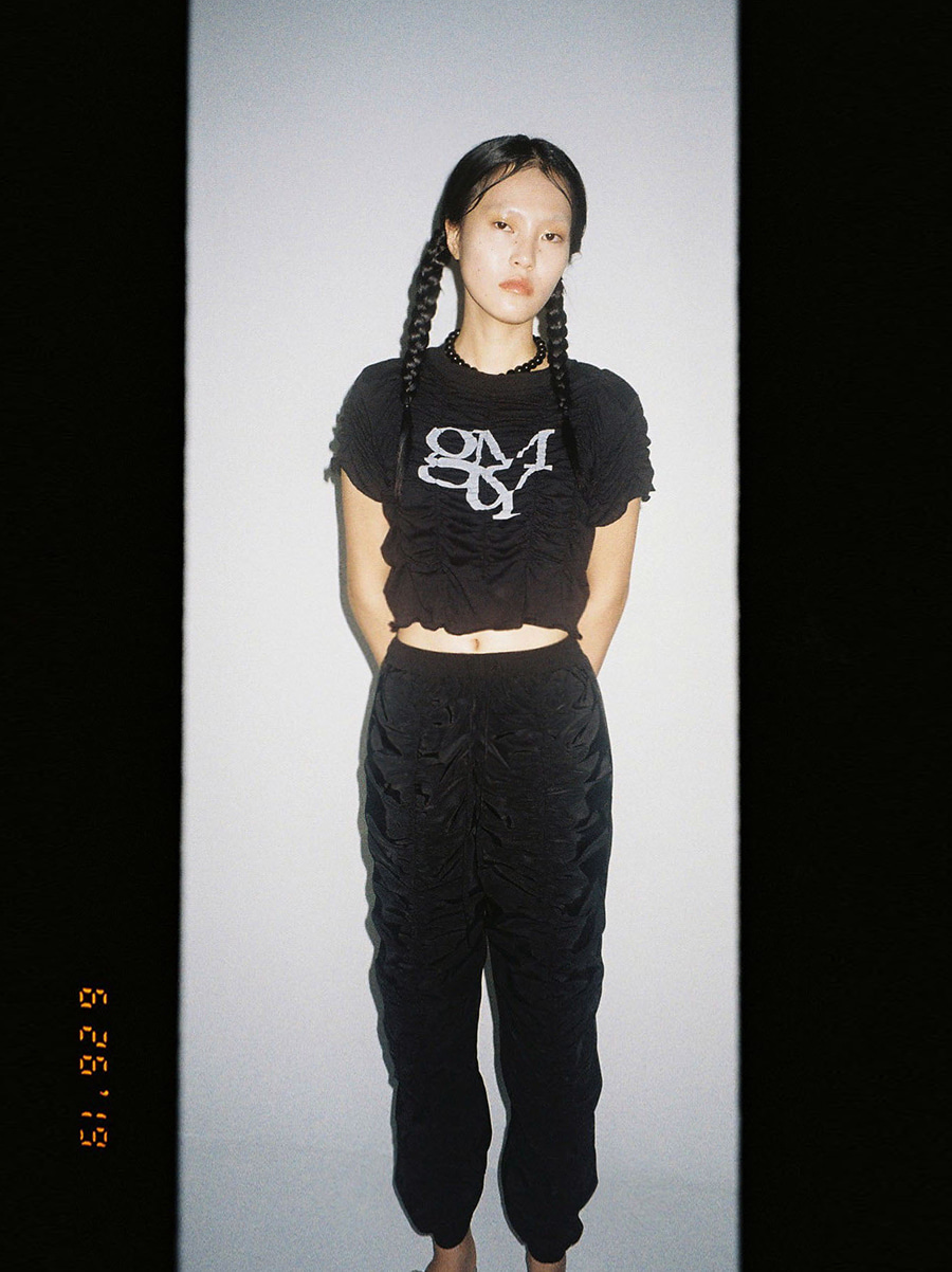 G_CENTER SHIRRING PANTS  / BLACK