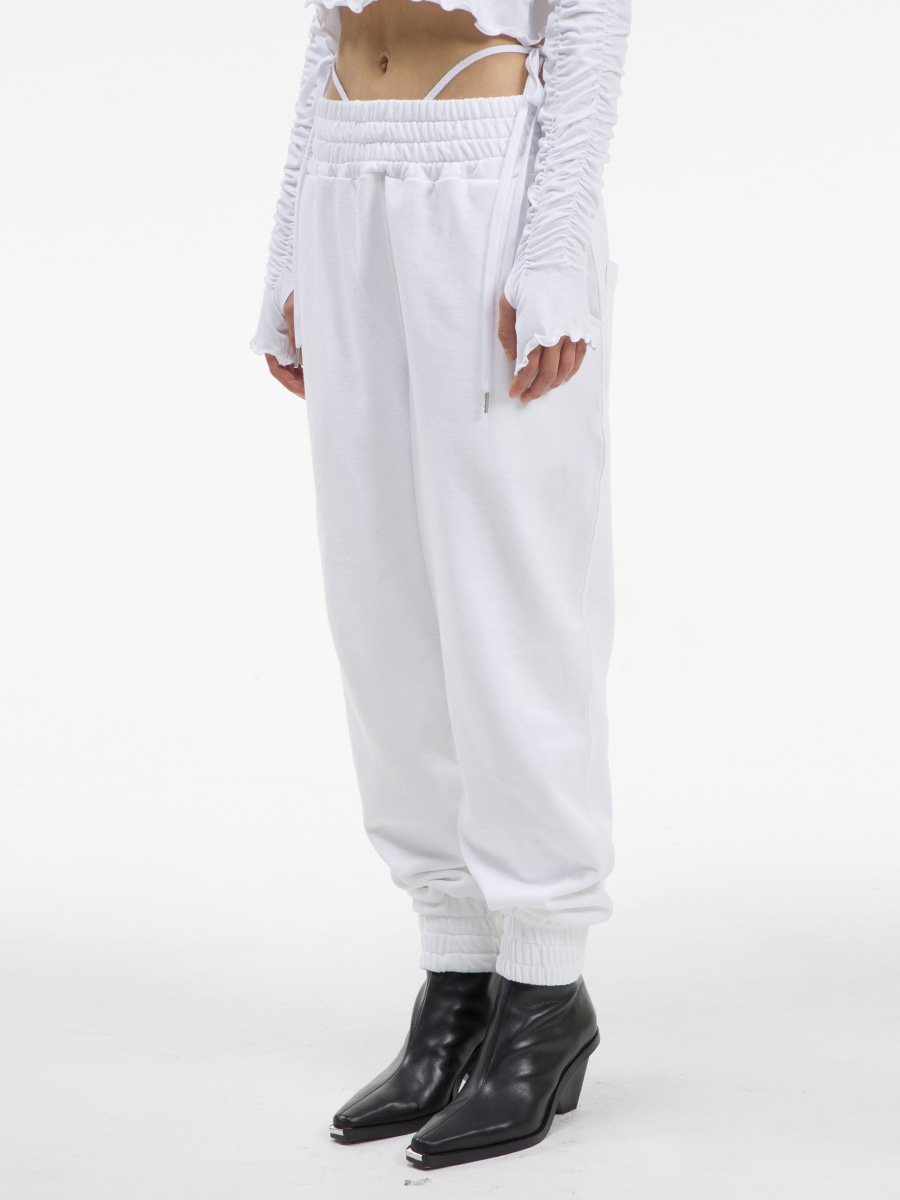 G_BAND LOOSE PANTS / WHITE