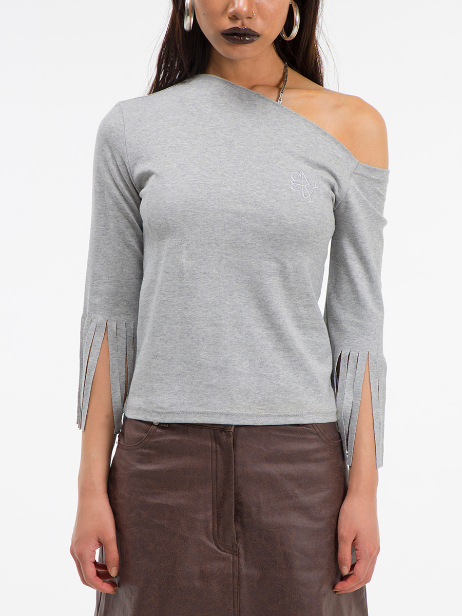 G_TASSEL SLEEVE ONE-SHOULDER T-SHIRT / GREY