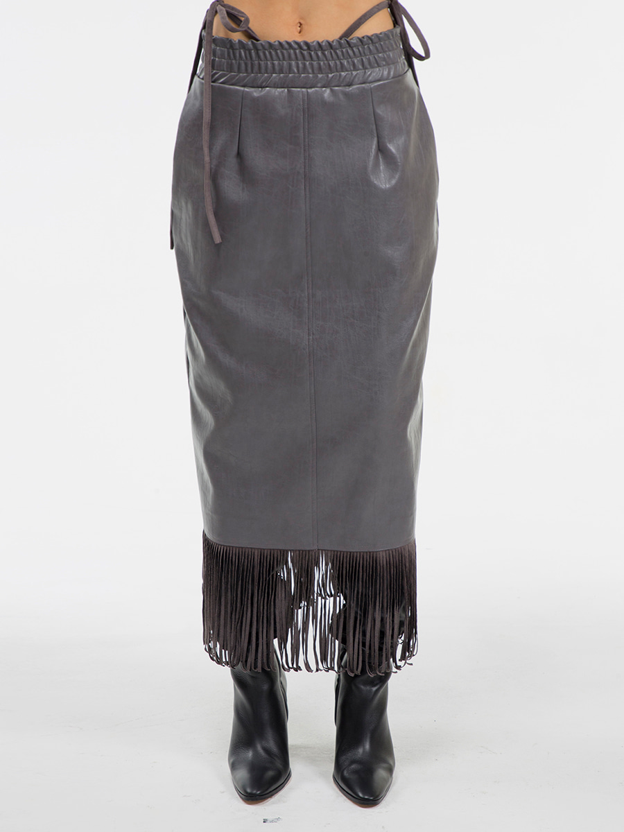 G_TASSEL LEATHER LONG_SKIRT / GREY