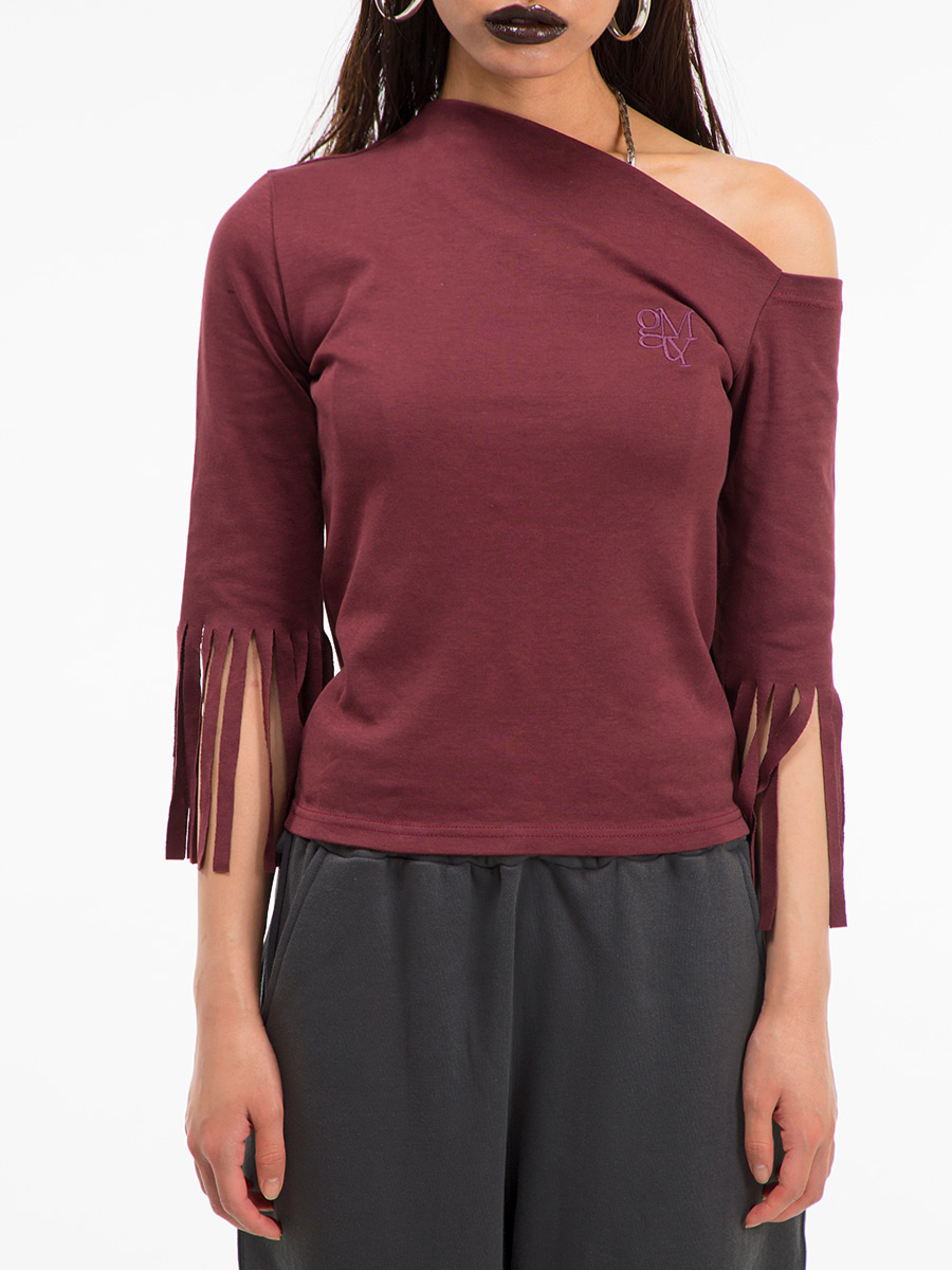 G_TASSEL SLEEVE ONE-SHOULDER T-SHIRT / BURGUNDY