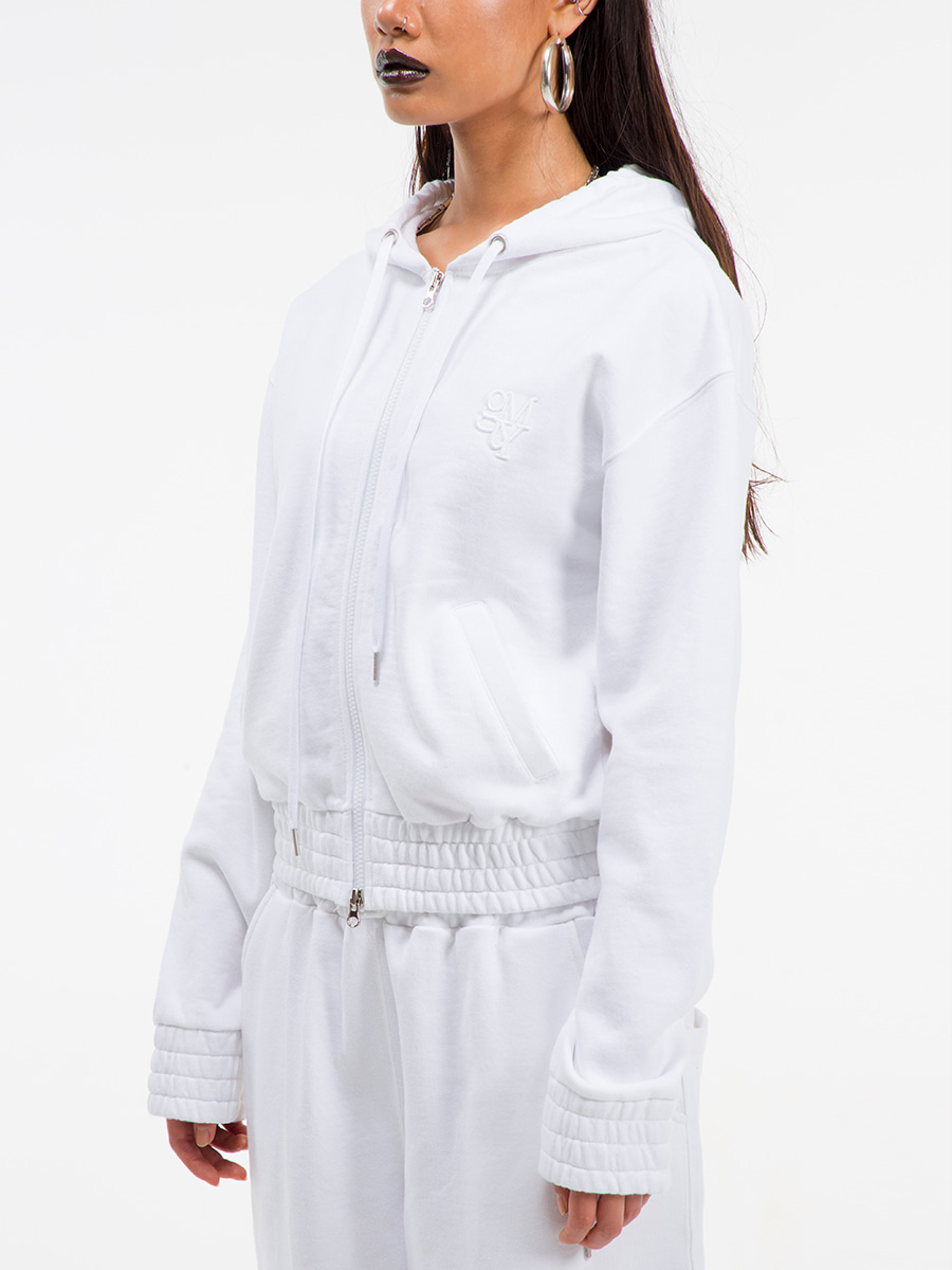 G_BAND ZIP-UP HOODIE / WHITE